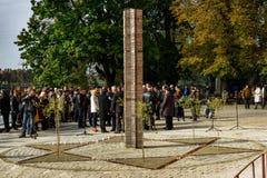 Het openen van het monument voor lokale slachtoffers van de Holocaust in Uzhgorod Stock Foto