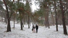 Het openlucht de winter bosschot van jong huwelijkspaar die en pretholding lopen hebben dient de pijnboombos in van het sneeuwwee stock videobeelden