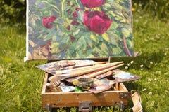 Het openlucht de zomer schilderen Stock Foto's