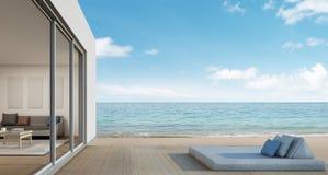 Het openlucht leven, Strandhuis met overzeese mening in modern ontwerp Royalty-vrije Stock Foto's