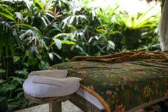 Het openluchtbad rond tropisch groen voor ontspant Kuuroord, organisch en sk royalty-vrije stock fotografie