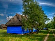 Het openluchtmuseum in Maurzyce. Oude blokhuizen, Royalty-vrije Stock Afbeeldingen