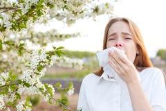 Het openluchtschot van ontstemde Kaukasische vrouw voelt allergie, houdt witte tissuue, bevindt zich dichtbij boom met bloesem, v stock afbeeldingen