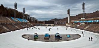 Het openluchtstadion van Alma Ata - van Medeo Stock Foto's