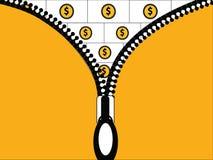 Het openritsen om Geld te tonen royalty-vrije illustratie