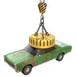 Het opheffen van elektromagneet met oude auto Royalty-vrije Stock Afbeelding