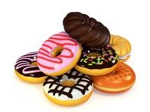 Het ophopen van donuts het 3D teruggeven Stock Afbeeldingen