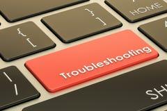Het oplossen van problemenconcept, roodgloeiende sleutel op toetsenbord het 3d teruggeven stock illustratie