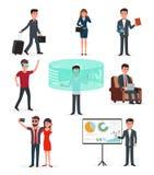 Het opstarten van bedrijvenwerk Virtuele werkelijkheidstechnologie en zaken vector illustratie