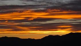 Het opvlammen Zonsondergang, Mojave-Woestijn Stock Afbeeldingen