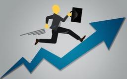 Het opvoeren tot de bovenkant van pijl voor succes vector illustratie