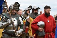 Het opvoeren van de middeleeuwse Slag van Grunwald van 1410 stock foto