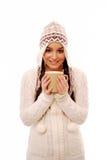 Het opwarmen met kop van koffie Stock Foto