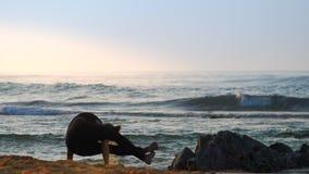 Het opwekken van dametribunes dient yogapositie tegen oceaan in stock videobeelden