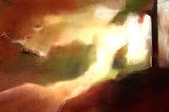 Het oranje abstracte eigentijdse de tekening van de kunstdruk schilderen stock afbeelding