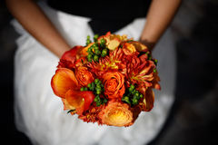 Het oranje Boeket van het Huwelijk stock afbeeldingen