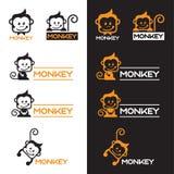 Het oranje en Zwarte vector vastgestelde ontwerp van het Aapembleem Royalty-vrije Stock Afbeeldingen
