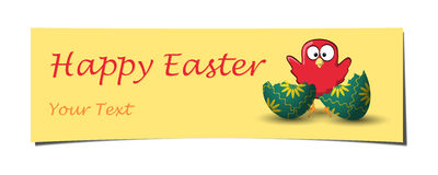 Het oranje gekrulde kip gebroken ei van Pasen banner Stock Fotografie