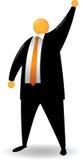 Het oranje Hoofd heft Hand op Stock Foto