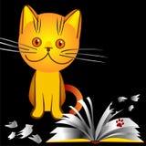 Het oranje katje intimideert brak een boek Stock Foto