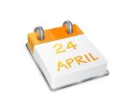 Het oranje Pictogram van de Kalender op Pasen 24 April Stock Afbeelding