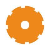 Het oranje pictogram van de silhouet getande pignon royalty-vrije illustratie