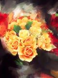 Het oranje Rozen Schilderen Stock Afbeelding