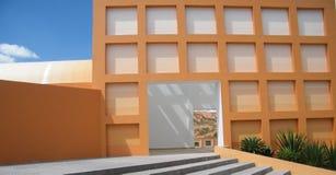 Het oranje terras van het Hotel in de de zomermiddag Stock Foto