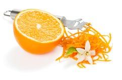 Het oranje zesting met bloemen royalty-vrije stock foto