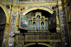 Het orgaan in de Incoronata-tempel in het stadscentrum in Lodi in Lombardije (Italië) Stock Fotografie