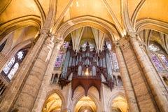 Het orgaan van de pijp van de Kathedraal van Chartres Stock Afbeeldingen