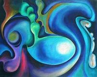 Het organische Blauwe Abstracte Schilderen Stock Afbeelding