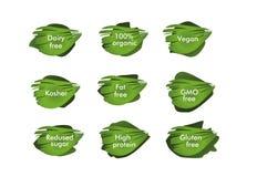 Het organische teken 100%, vrije zuivelfabriek, kosjer, veganist, vrij GMO, vrij vet, redused hoge suiker, - proteïne, vrij glute vector illustratie