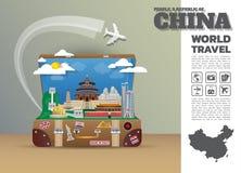 Het Oriëntatiepunt Globale Reis van China en de bagage van Reisinfographic 3d Vector Illustratie