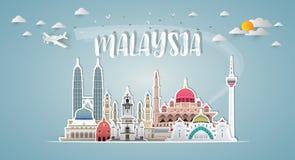Het Oriëntatiepunt Globale Reis van Maleisië en Reisdocument achtergrond Ve vector illustratie