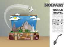 Het Oriëntatiepunt Globale Reis van Noorwegen en de bagage van Reisinfographic 3d stock illustratie