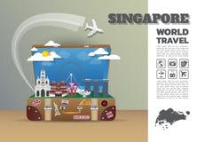 Het Oriëntatiepunt Globale Reis van Singapore en de bagage van Reisinfographic Stock Illustratie