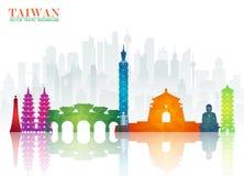 Het Oriëntatiepunt Globale Reis van Taiwan en Reisdocument achtergrond Vect stock illustratie