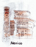 Het Oriëntatiepunt Mexicaans idool van de illustratieschets Stock Foto