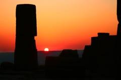 Het Oriëntatiepunt van Archeologic bij Zonsondergang Stock Afbeelding