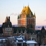 Het oriëntatiepunt van de Stad van Quebec, Chateau Frontenac Stock Afbeelding
