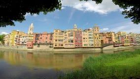 Het oriëntatiepunt van Nice van een Spaanse stad Girona stock videobeelden