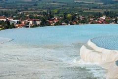 Het oriëntatiepunt van Turkije - Pamukkale-travertijnpools stock foto's
