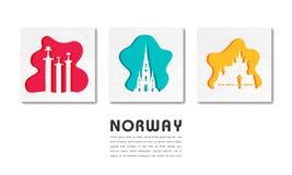 Het Ori?ntatiepunt Globale Reis van Noorwegen en Reisdocument achtergrond Vector ontwerpmalplaatje gebruikt voor uw reclame, boek royalty-vrije illustratie