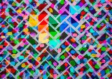 Het originele Abstracte Acryl Schilderen op Canvas Baksteen heldere muur Achtergrond Stock Foto's