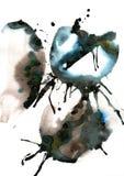 Het originele abstracte waterverf zwart-witte schilderen op een witte achtergrond Stock Afbeelding
