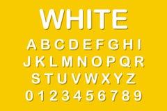 Het originele alfabet Witte brieven op gele achtergrond stock illustratie