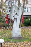 Het originele beeldhouwwerk in de stad van Burgas, Bulgarije, de winter Stock Foto's