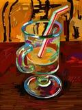 Het originele digitale schilderen van glaskoffie Stock Foto