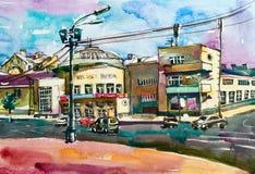 Het originele pleinair schilderen van cityscape van Podol Kyiv de Oekraïne, wate Stock Foto